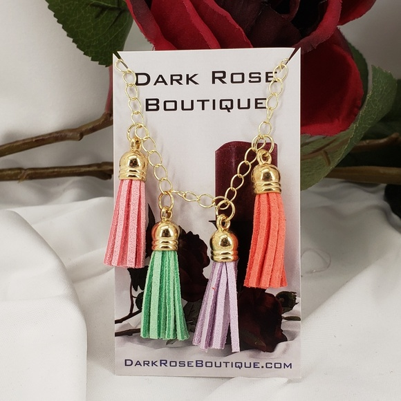 Dark Rose Boutique Jewelry - Handmade Colorful Fringe Necklace